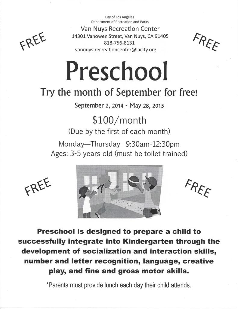 Van Nuys RC Preschool Flyer 2014-2015
