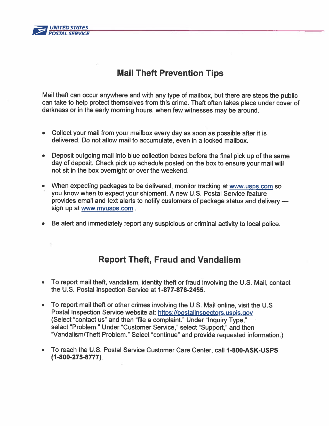 How to Report Mail Theft
