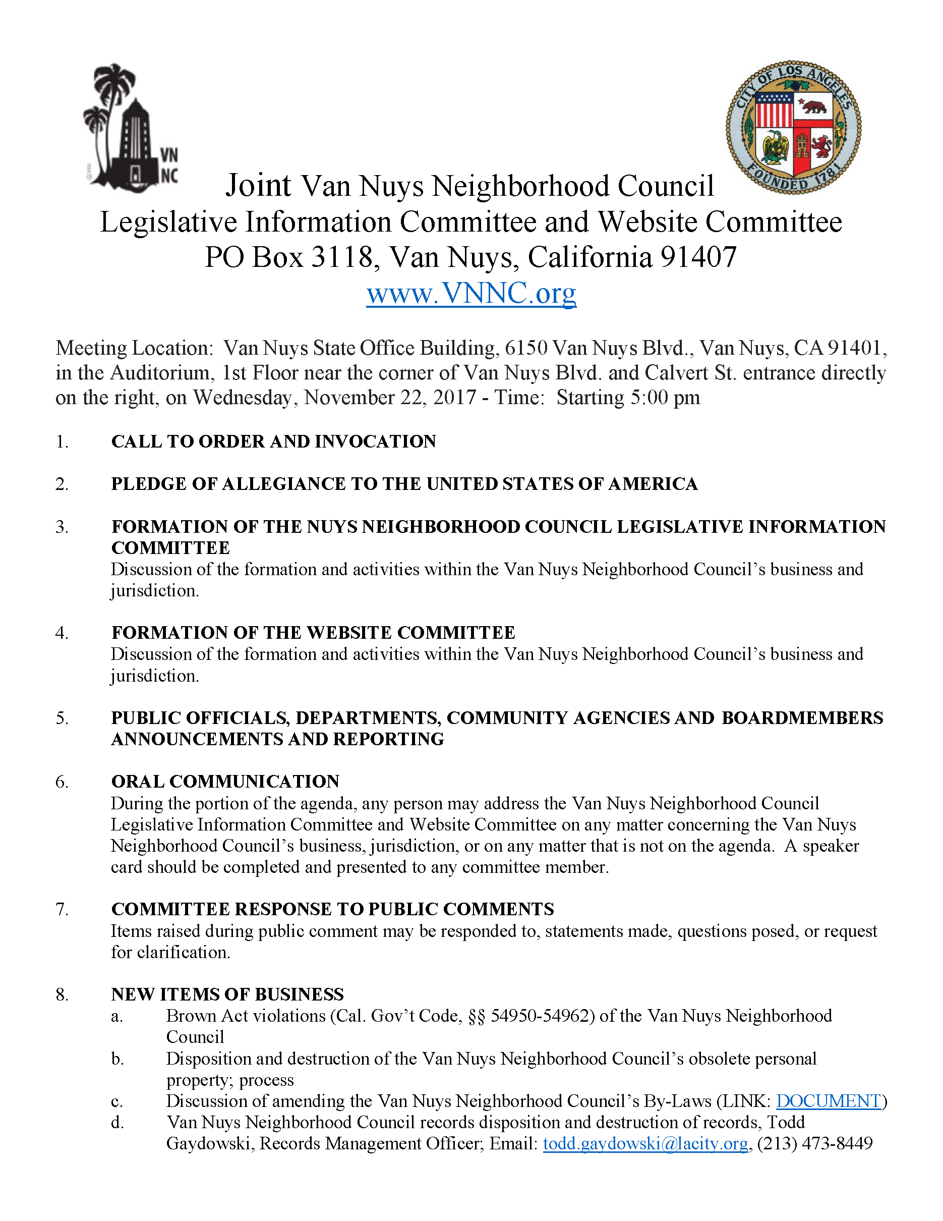 Joint van nuys neighborhood council legislative information joint van nuys neighborhood council legislative information committee and website committee reheart Images