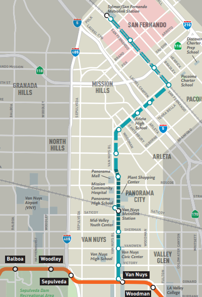 East San Fernando Valley Light Rail Map