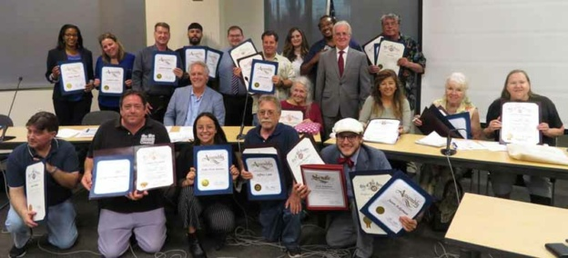 Van Nuys Neighborhood Council Board Members with Certificates
