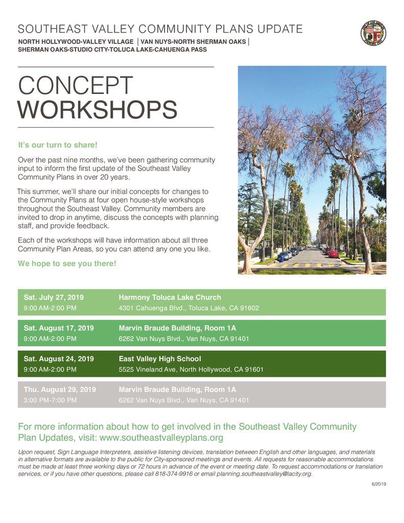 Community Plan Workshop Schedule