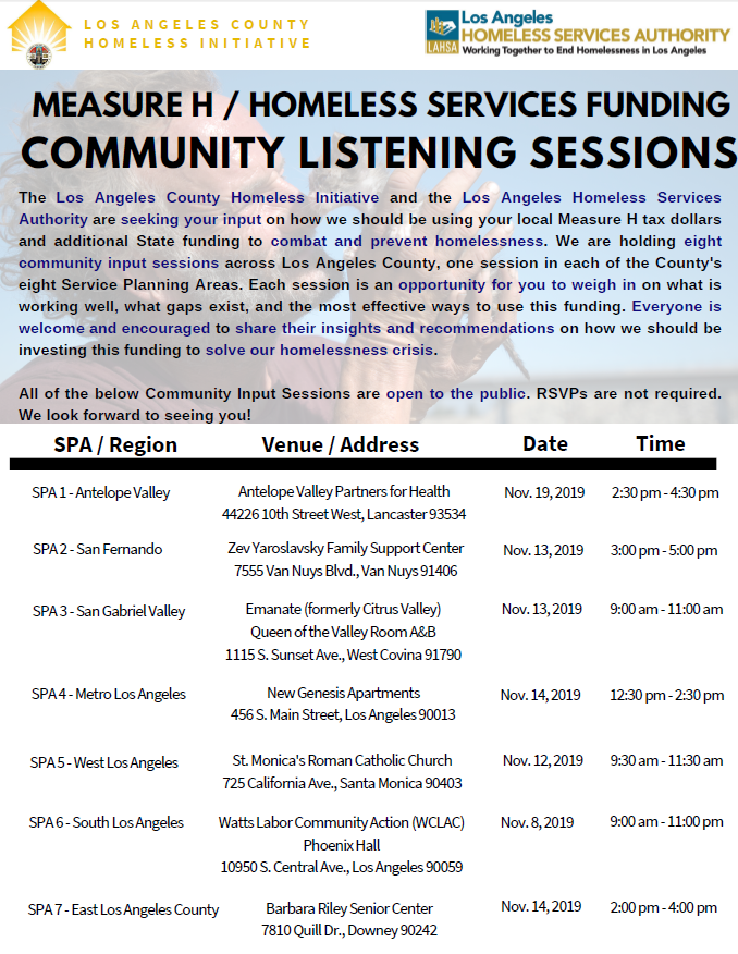 Homeless listening sessions