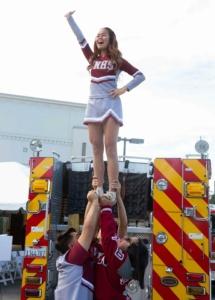 Van Nuys High School Cheerleader held high