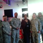 VNNC Outreach Chair Maria Skelton with the fine men in our military at Veteran's Day event